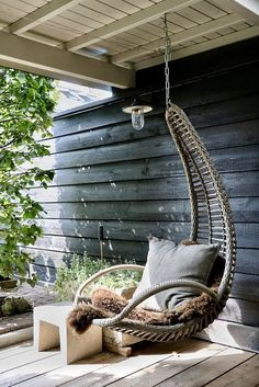 Seating For Small Living Room Furniture Decor, Outdoor Furniture, Outdoor Decor, Cosy Interior, Interior Design, Blue Dining Room Chairs, Modern Country Style, Swinging Chair, Patio Design