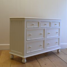 This lowboy dresser from English Farmhouse Furniture perfectly displays the company's signature woodworking in wainscotted in-set side panels and rounded bun feet. With multiple drawers and a low silhouette, this chest offers storage for both bedrooms and Furniture Collection, Furniture, Cottage Style, Custom Made Furniture, Furniture Making, Lowboy Dresser, English Farmhouse, Lowboy, Farmhouse Furniture
