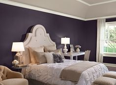 Benjamin Moore Paint Colors - Purple Bedroom Ideas - Pretty Purple Bedroom - Paint Color Schemes . . . Walls (lower) - Shadow (2117-30); Tray Ceiling - Sea Froth (2107-60); Trim - White Dove (OC-17).