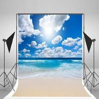 Wish   5x7ft Beach Photography Backgrounds Blue Sky White Cloud Photo Backdrop Summer Backdrops