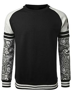 URBANCREWS Mens Hipster Hip Hop 22 Paisley Sleeves Pullover Sweatshirt
