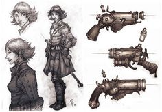 gun, steampunk, adventurer, magitech