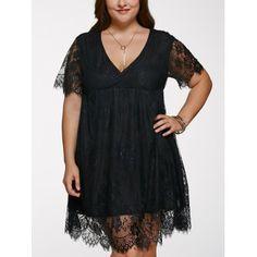 Alluring V Neck Plus Size Lace Dress (BLACK,XL) in Dresses | DressLily.com