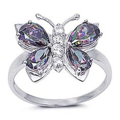 Rhodium Plated Sterling Silver Wedding & Engagement Ring Rainbow Topaz Butterfly Ring ( Size 5 to Size 6 Rock Jewelry, Cute Jewelry, Gemstone Jewelry, Silver Jewelry, Jewelry Box, Butterfly Ring, Butterfly Jewelry, Mystic Fire Topaz, Rainbow Topaz