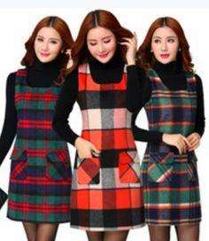 Chic Women Sleeveless Vintage Plaid Pattern Solid Color Vest Winter Tunic Dress Robe women's winter dresses from top store Winter Dresses, Casual Dresses, Dress Winter, Long Dresses, Vestidos Jumper, Look Fashion, Fashion Outfits, Woolen Dresses, European Dress