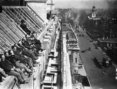 Workmen basking in the sun during a break in the construction of a new building at Baker Street station, 1929