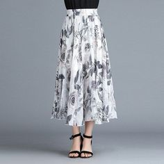 Skirts summer chiffon skirt floral high waist wild skirt a word big swing skirt elastic waist long section – 2019 - Chiffon Diy Chiffon Skirt, Pleated Skirt, Waist Skirt, Floral Chiffon, Long Skirts For Women, Swing Skirt, Clothing Items, Elastic Waist, High Waist