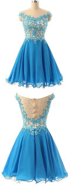 Blue Off Shoulder Lace Homecoming Dress,Short Lace Prom Dress,Knee length Bridesmaids Dress