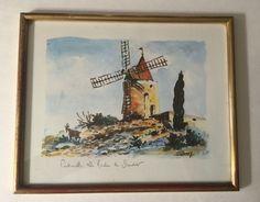 """Vintage French Architecture Cityscape T. Romey """"Le Moulin De Daudet Fontvieille"""""""