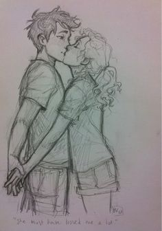 Also, he was reluctant to share his one clear memory: Annabeth's face, her blonde hair and gray eyes, the way she laughed, threw her arms around him and gave him a kiss whenever he did something stupid. She must have kissed him a lot, Percy thought. *adds to plethora of percabeth kisses in sketchbook* i've been getting a LOT of messages saying that i've been neglecting percy (and friends), so i sketched this out at work when i had some spare time. c::