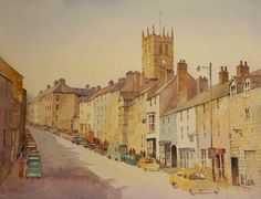 Watercolour of the Bank by Malcolm Coils Barnard Castle, Watercolour, Painting, Art, Pen And Wash, Art Background, Watercolor Painting, Watercolor, Painting Art