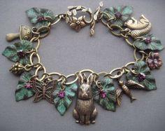 Charm Bracelet - Rabbit Bracelet - Rabbit Jewelry - Bunny Jewelry - Woodland Jewelry - Whimsical Jewelry - Fairytale Jewelry - Leaf Bracelet