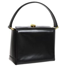 1f1b173ac923cb Gucci Black Leather Gold Emblem Kelly Style Party Evening Top Handle  Satchel Bag