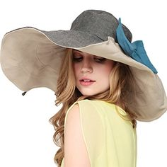 Maitose™ Women's UV Sun Protection Beach Wide Brim Fishing Hat Gray. For product & price info go to:  https://all4hiking.com/products/maitose-womens-uv-sun-protection-beach-wide-brim-fishing-hat-gray/