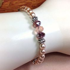 Swarovski Glass Pearl Bracelet Pearl Bridesmaid by JewelryCharmers, $20.00