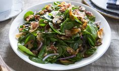 Warm Spinach Salad with Pancetta Dressing Recipe : Food Network Salad Bar, Soup And Salad, Warm Spinach Salads, Chefs, Mushroom Salad, Dressing Recipe, Vinaigrette, Kale, Healthy Eating