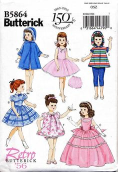 BUTTERICK SEWING PATTERN 5864 18  VINTAGE RE-ISSUE DOLL CLOTHES DRESS COAT PANTS