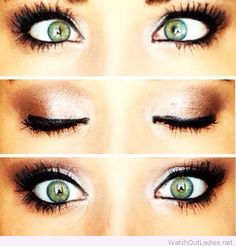 Rosy toned neutrals look great for green eyes