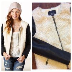 """Shearling Bomber Jacket Collarless jacket with faux shearling body and faux leather sleeves. Excellent blend of texture. Zip front closure, zip pockets. Quilted lining for warmth. Excellent condition. Size Small, Measurements when laying flat: 18"""" chest and 21"""" total length. American Eagle Outfitters Jackets & Coats"""