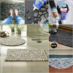 Cómo hacer alfombra con piedras.Podemos hacer unaalfombra con piedrasaplicandopiedras de ríoa un soporte de malla. Unaalfombra de piedraspermite que