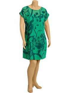Womens Plus Floral-Chiffon Tee Dresses