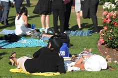 By the end of the day many people were in a much more relaxed state, choosing to take the weight off the feet and squeeze in little naps Melbourne Cup, Stakes Day, Final Days, Finals, Baby Strollers, Carnival, Sleep, Children, People