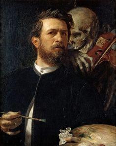Бёклин, Арнольд (1827-1901) - Автопортрет со смертью, играющей на скрипке. Старая и Новая Национальные Галереи (Берлин)