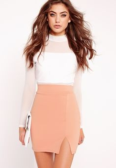 Missguided - Petite Scuba Split High Waist Mini Skirt Nude