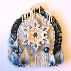 Winter Frost Fairy Door Christmas Pixie Portal  by Claybykim