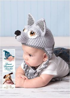 Wolf Earflap Hat  Size 0  3 Month  IN STOCK by trescrochique, $30.00