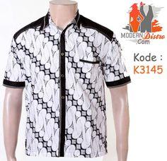Kemeja Batik Lengan Pendek Kombinasi Putih K3145  f1d38a1b96