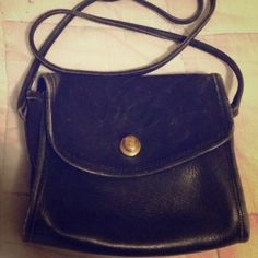 """Vintage Coach Bag in black leather 7x6 and 2"""" wide. Vintage condition. Coach Bags Mini Bags"""