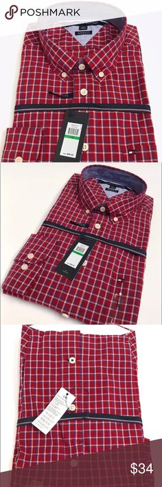 Tommy Hilfiger Button Down Shirt Cotton Large New New with tags Tommy Hilfiger Button Down Shirt; Red Plaid; Size:Large; 100% Cotton. Never worn, didn't need! Tommy Hilfiger Shirts Casual Button Down Shirts