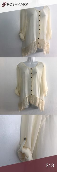 Bar lll Long Lace Edged Sheer Poly Top Beautiful off white button front sheer Top with lace accent at hemline. Worn loose and flowy Sleeves can be rolled and buttoned out of the way or left long. A great Top for the upcoming season. Approx Chest 38 in length 29 in. Bar lll Tops Blouses