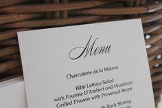 Custom menu for Manhattan rehearsal dinner. The Cave du Vin at Lafayette Grand Cafe.