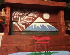 Japanese scenery wine/spice rack I've made from palettes!