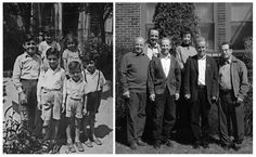 Children of a Palestinian family from Haifa 1 year after their expulsion (L) and 60 years later (R)