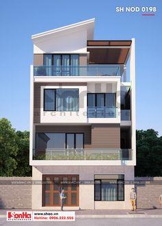 Bản vẽ thiết kế nhà phố hiện đại diện tích 8,25x14m tại Quảng Ninh Duplex House Design, House Front Design, Modern House Design, Building Facade, Building Design, Front Elevation Designs, Bathroom Layout, Minimalist Home, Little Houses