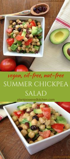 SUMMER CHICKPEA SALAD! Delicious, easy, breezy! Vegan, nut-free, gluten-free, and oil-free. By Dreena Burton, plantpoweredkitchen.com