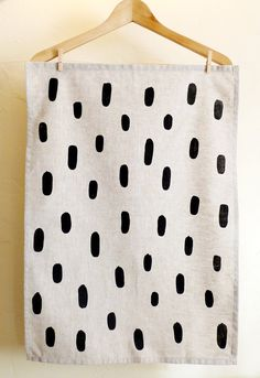Black Brushstroke Tea Towel. $22.00, via Etsy cottonandflaxshop
