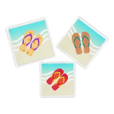 Colorful Summer Beach Flip Flops Sandals Tray Square Serving Trays