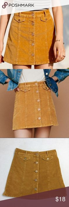 311b079e8 Urban Outfitters BDG Mustard Yellow Corduroy Skirt Fabulous Mustard Yellow  Button Front Corduroy skirt by Urban