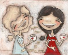 Me and You and Earl Grey - Original Painting on Wood  by Diane Duda - Friendship, Laughter and the Clinking of Teacups
