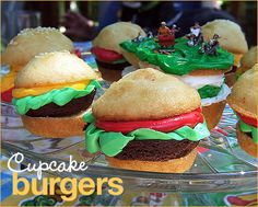 "Adorable Cupcake Burgers - I've seen this done with a chocolate cookie inserted as the ""meat"""
