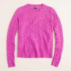 JCrew's fresh take on the typical cable sweater. Bright Dahlia could be fun for the fall or Pine Bough.