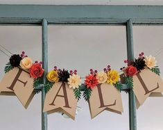 Items similar to Give thanks banner for fireplace mantel with paper flowers, Thankful banner and rustic fall decor, Fall wedding sign on Etsy 3d Paper Flowers, Paper Flower Garlands, Floral Banners, Paper Banners, Fall Wedding Decorations, Paper Decorations, Wedding Ideas, Rustic Fall Decor, Rustic Mantel
