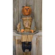 Unique Primitive Country HALLOWEEN PUMPKIN HEAD Miss Jackie DOLL Collectible NEW