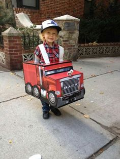 DIY Toddler Trucker Halloween Costume - Creative, Do it yourself, child or toddler not so scary halloween costume. Toddler Boy Halloween Costumes, Homemade Halloween Costumes, Halloween Costume Contest, Creative Halloween Costumes, Diy Costumes, Halloween Diy, Car Costume, Monster Truck Birthday, Toddler Football