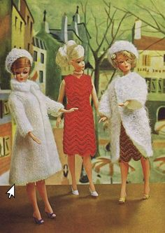 Instant PDF Download Vintage Knitting Pattern to make a Luxurious Mohair Coat & Hat for Teenage Dolls such as Barbie and Sindy