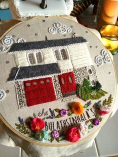 Colorful embroidered house portrait by The Monsters Lounge